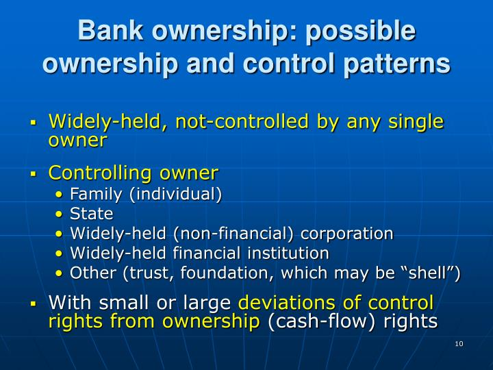 Bank ownership: possible ownership and control patterns