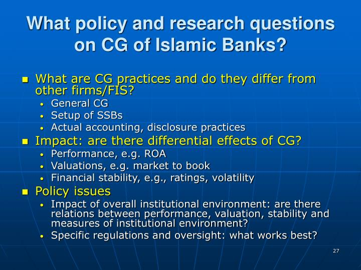 What policy and research questions on CG of Islamic Banks?