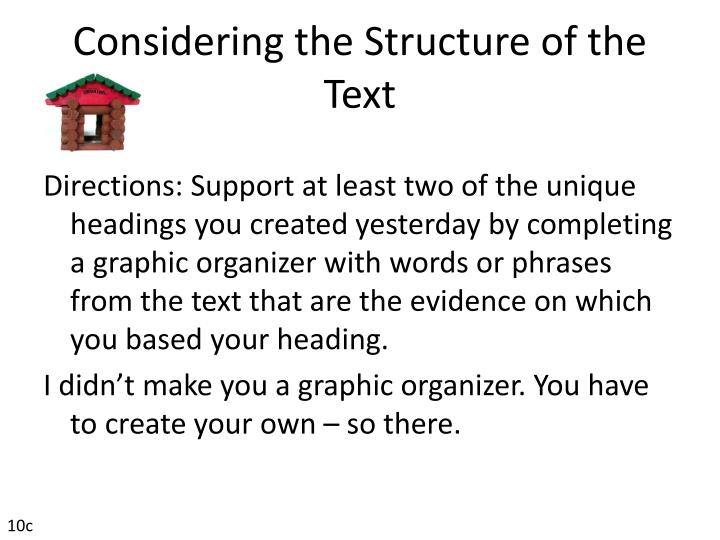 Considering the Structure of the Text
