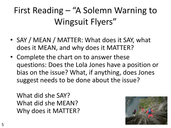 "First Reading – ""A Solemn Warning to"