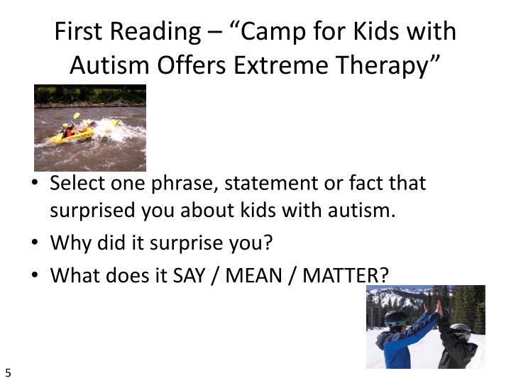 "First Reading – ""Camp for Kids with Autism Offers Extreme Therapy"""