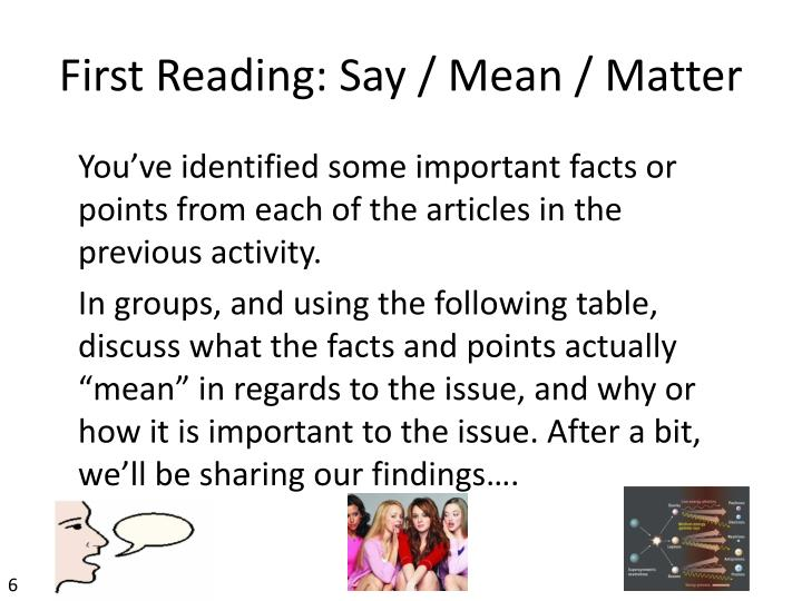 First Reading: Say / Mean / Matter