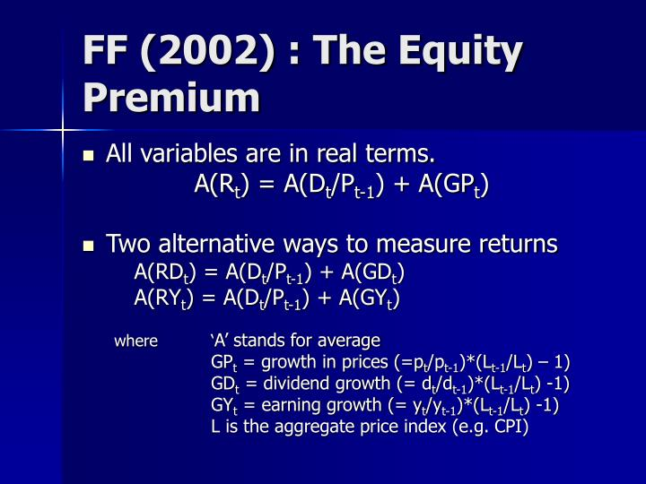 FF (2002) : The Equity Premium