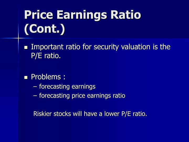 Price Earnings Ratio (Cont.)