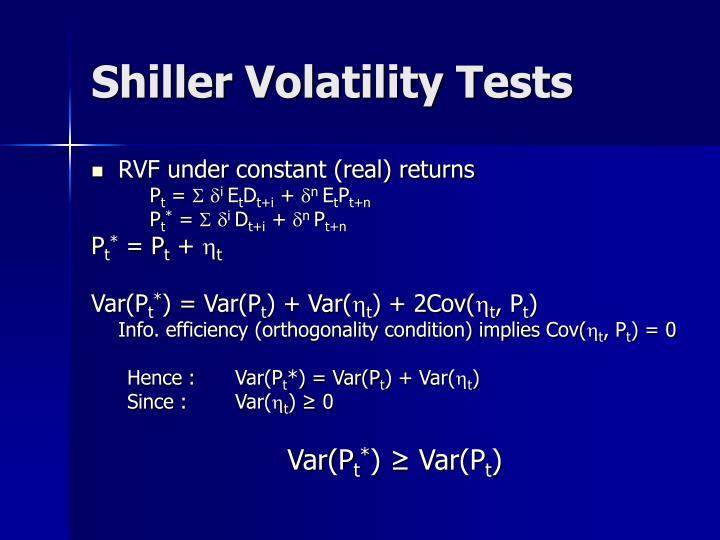 Shiller Volatility Tests