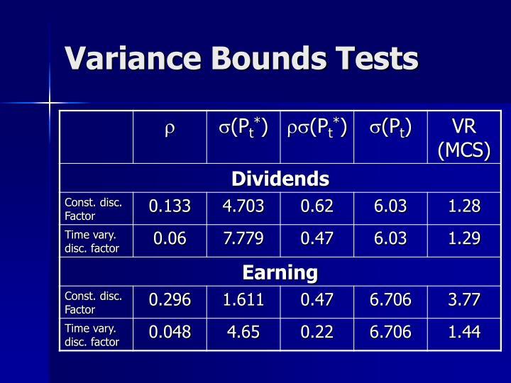 Variance Bounds Tests