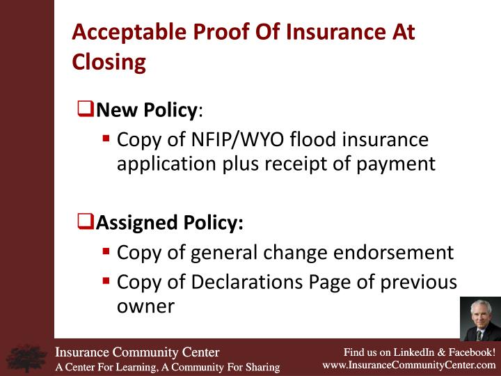 Acceptable Proof Of Insurance At Closing