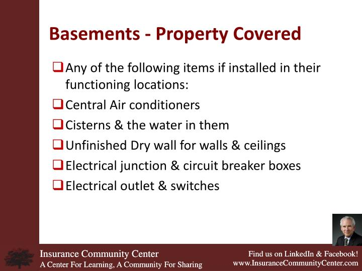 Basements - Property Covered