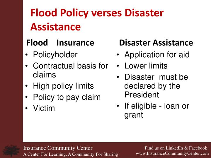 Flood Policy verses Disaster Assistance