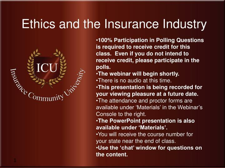 Ethics and the Insurance Industry