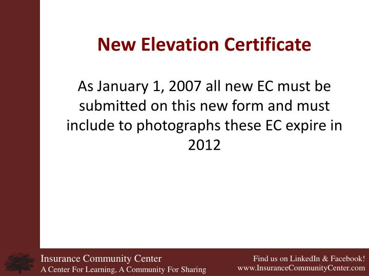New Elevation Certificate