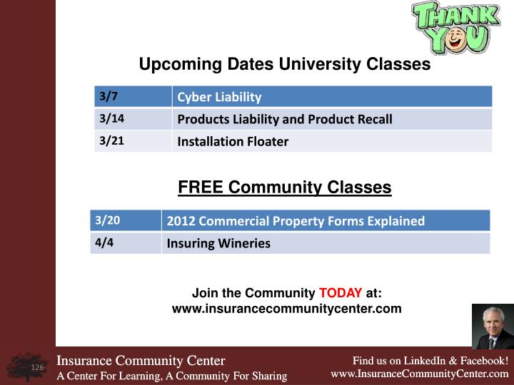 Upcoming Dates University Classes