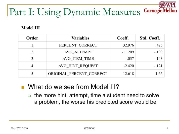Part I: Using Dynamic Measures