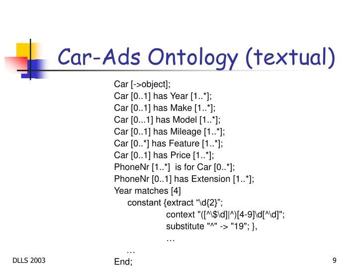 Car-Ads Ontology (textual)