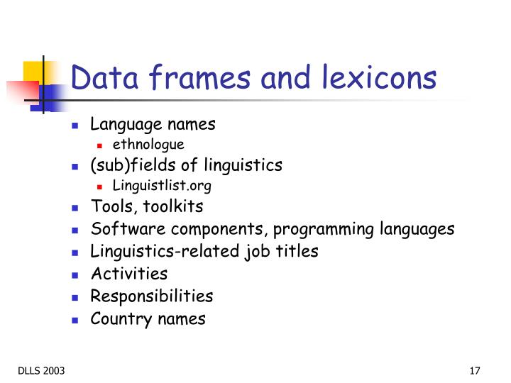 Data frames and lexicons