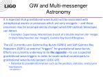 gw and multi messenger astronomy