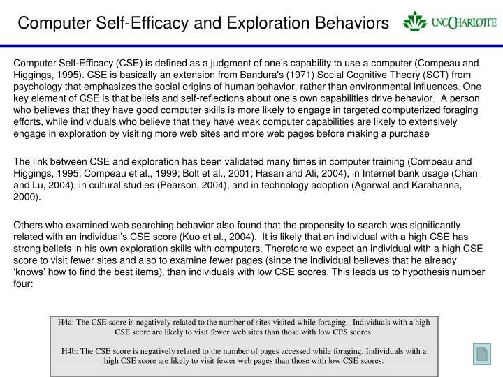 Computer Self-Efficacy and Exploration Behaviors
