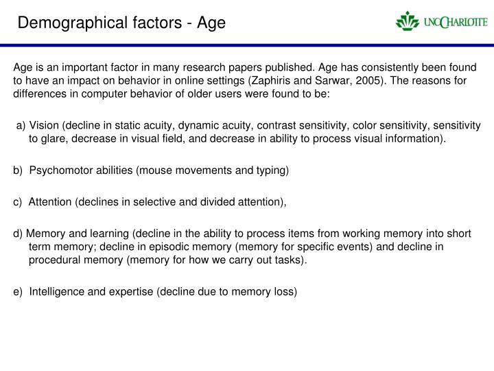 Demographical factors - Age