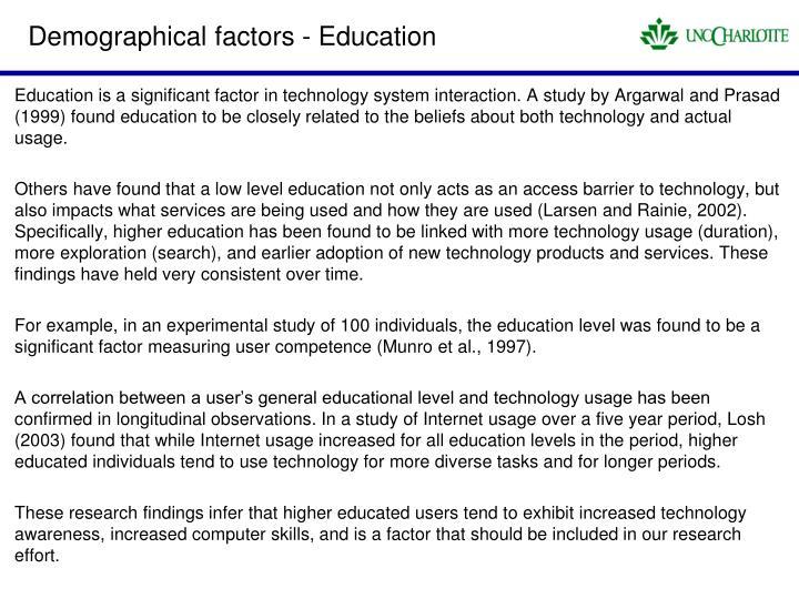 Demographical factors - Education