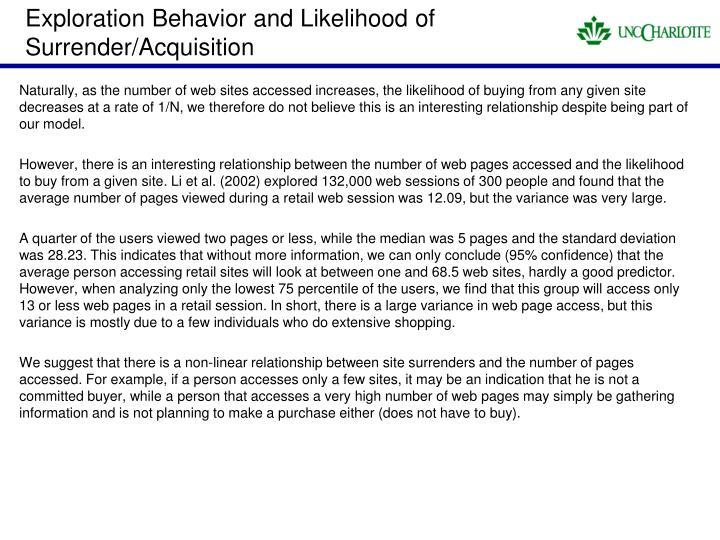 Exploration Behavior and Likelihood of Surrender/Acquisition