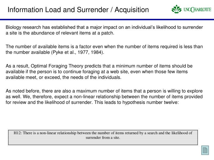 Information Load and Surrender / Acquisition