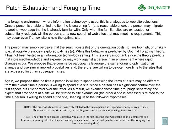 Patch Exhaustion and Foraging Time