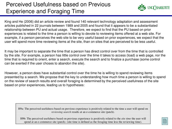 Perceived Usefulness based on Previous