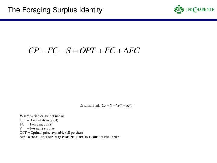 The Foraging Surplus Identity