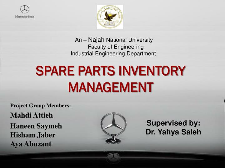 spare parts inventory management n.