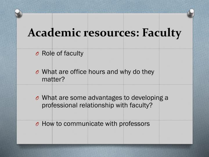 Academic resources: Faculty