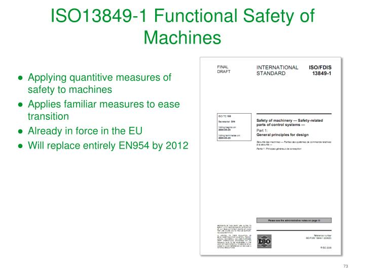 ISO13849-1 Functional Safety of Machines
