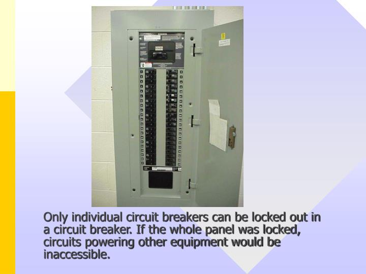 Only individual circuit breakers can be locked out in a circuit breaker. If the whole panel was locked, circuits powering other equipment would be inaccessible.