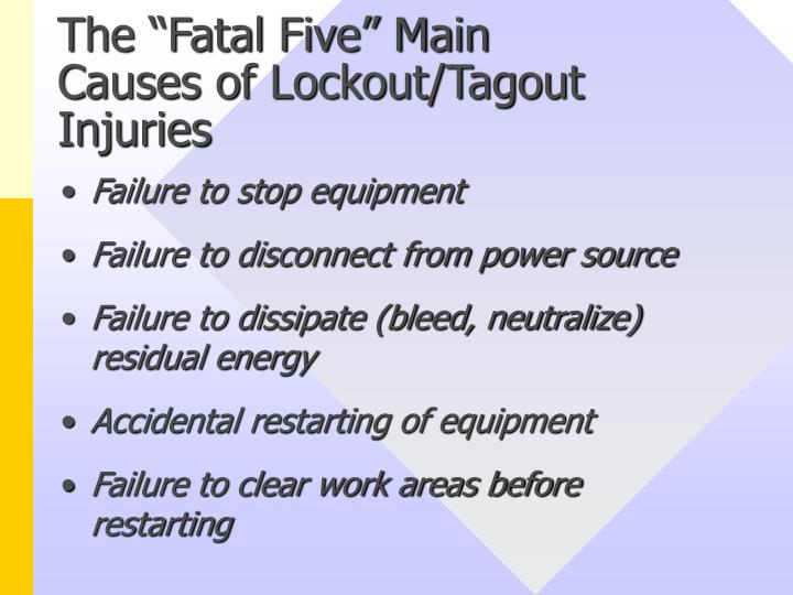 The fatal five main causes of lockout tagout injuries