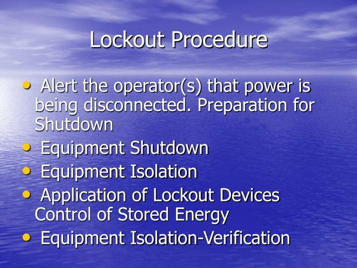 Lockout Procedure