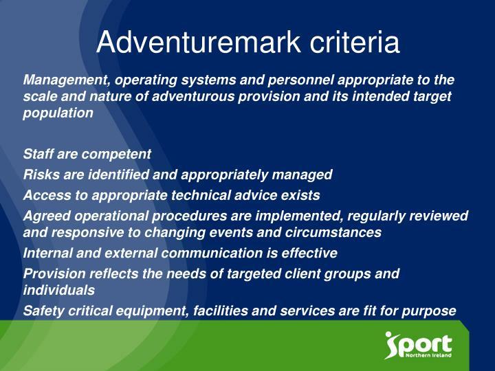 Adventuremark criteria