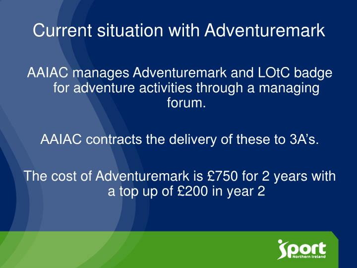 Current situation with Adventuremark
