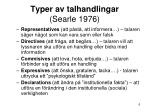 typer av talhandlingar searle 1976