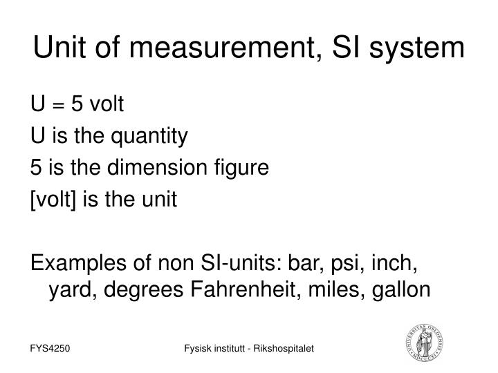 Unit of measurement, SI system