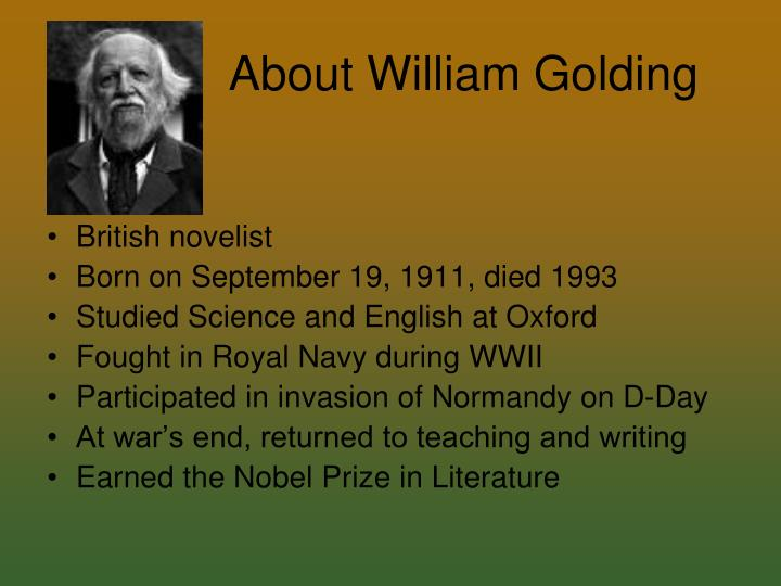 how does william golding create the Personal accountability to evil in william golding into lord of the flies written by sir william golding and cull out the but, they were prone to create.