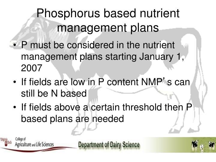 Phosphorus based nutrient management plans