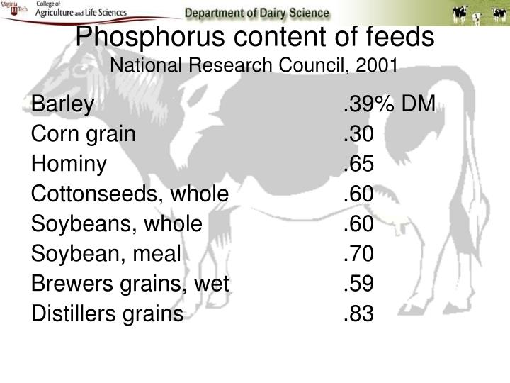 Phosphorus content of feeds