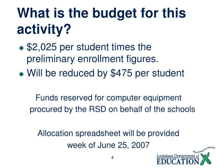 What is the budget for this activity?