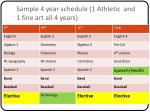 sample 4 year schedule 1 athletic and 1 fine art all 4 years