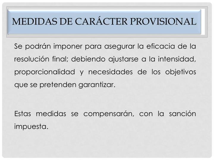 Medidas de carácter provisional