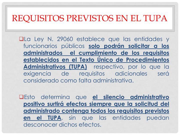 REQUISITOS PREVISTOS EN EL TUPA