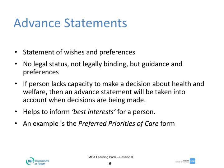 Advance Statements