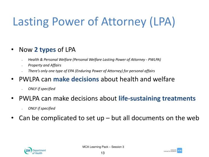 Lasting Power of Attorney (LPA)