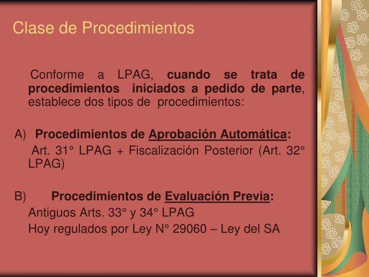 Clase de Procedimientos