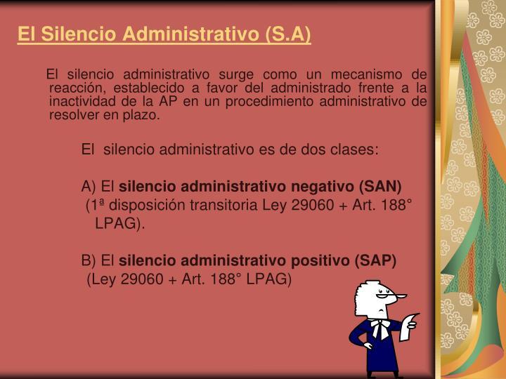 El Silencio Administrativo (S.A)