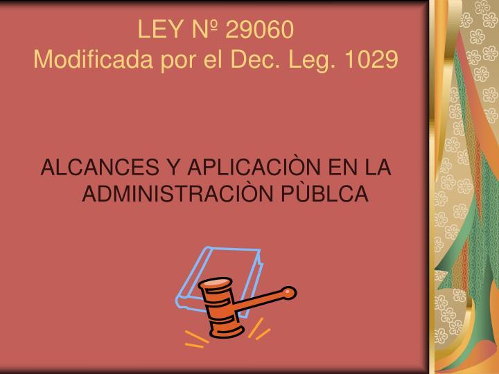 LEY Nº 29060